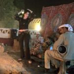 Partying in a desert camp